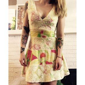 FARM RIO // Rare Floral & Lace Mini Wrap Dress